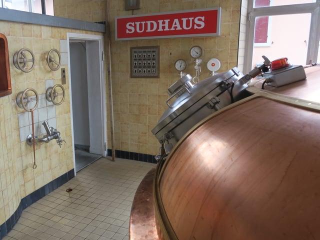 Bierkessel im Sudhaus.