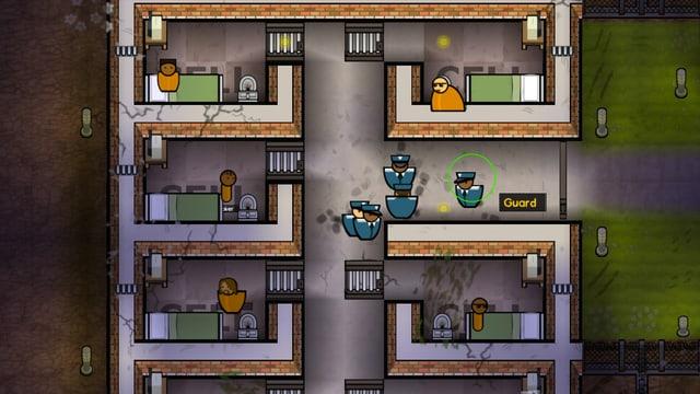 Fünf Wärter bewachen fünf Gefangene.
