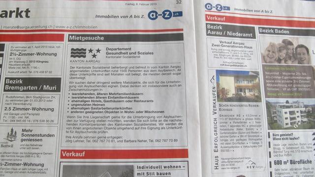Zeitungsinserat des Kantons Aargau um Plätze für Asylsuchende zu finden