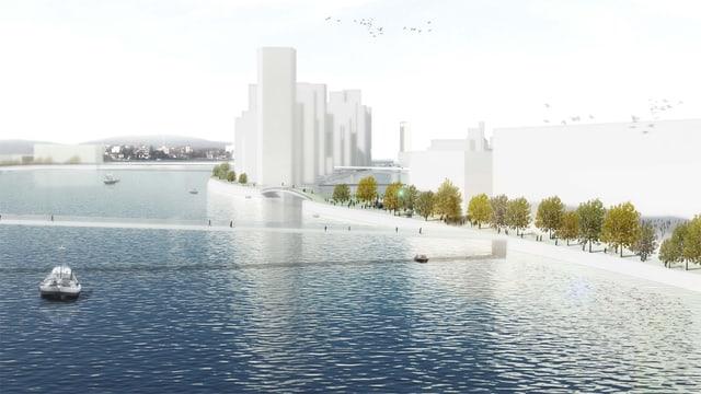 Modell der geplanten Rheinüberbauung mit Hochhäusern am Ufern.