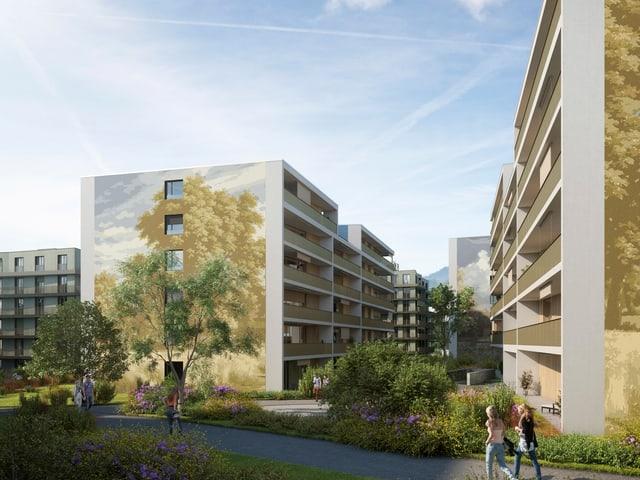 Visualisierung der Gebäude im neuen Krienser Quartier Schweighof.