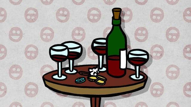 Eine Flasche Rotwein und vier Gläser auf einem kleinen runden Tisch.