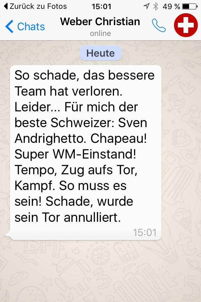 Textnachricht von Christian Weber per Whatsup.