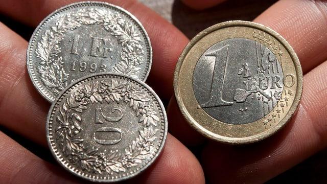 Franken und eine Euro-Münze