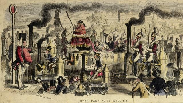 Queen Victoria und ihre Familie reisen in einer Dampfkutsche, neben ihnen reiten die Menschen auf Lokomotiven.