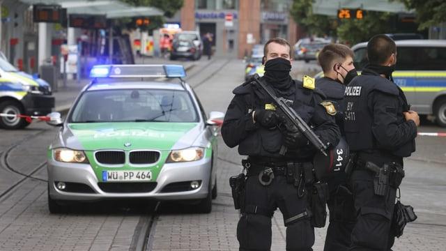 Polizei in der Innenstadt von Würzburg