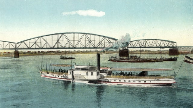 Eine illustrierte Postkarte: ein Dampfschiff auf dem Rhein.