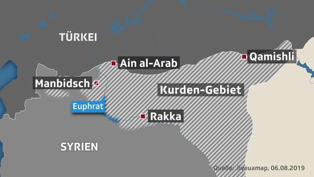 Karte mit Kurden-Gebiet in Syrien und der Türkei.