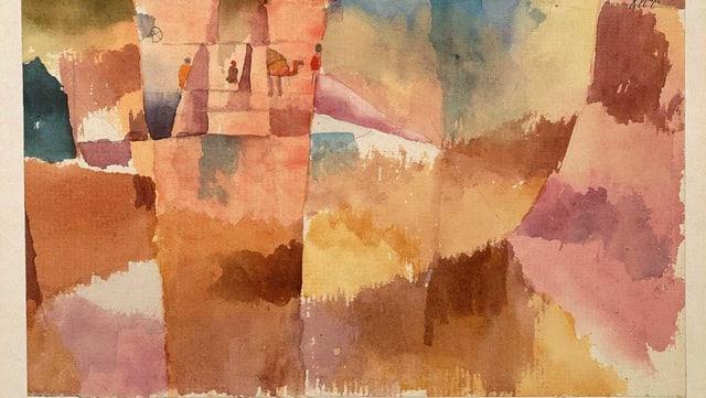 Ein abstraktes Bild von Paul Klee: veschwommene Orange-, Gelb- und Blautöne.