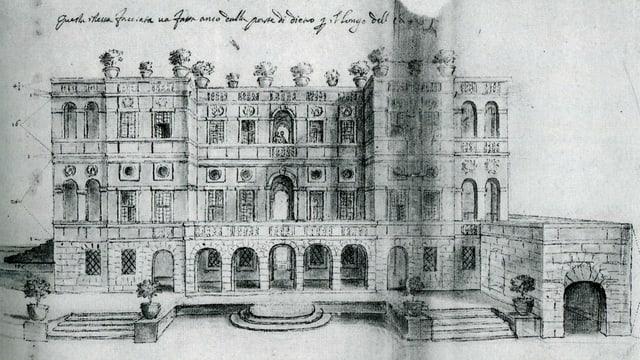 Eine Zeichnung der Villa del Vascello in Rom.
