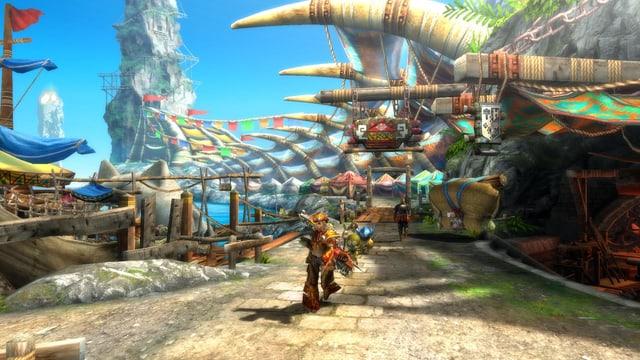 Jägerin mit Hut und Begleitern in den farbenfrohen Gassen einer Hafenstadt.