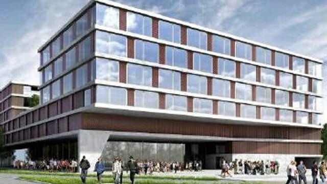 Skizze eines grossen Gebäudes mit Glasfassade.