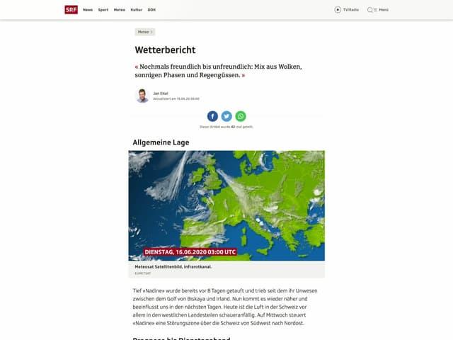 Ein Screenshot des Wettertextes auf srf.ch/meteo