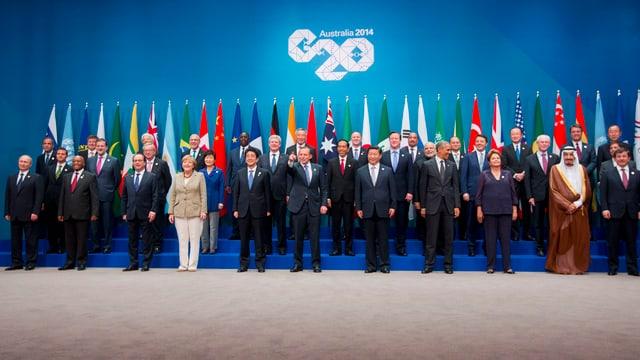 Die Staatschefs posieren fürs Familienfoto am G20-Gipfel