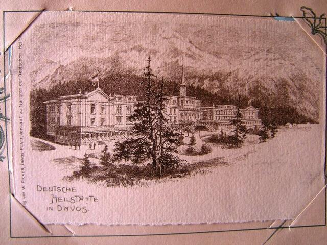 Postkarte mit historischer Klinik-Zeichnung