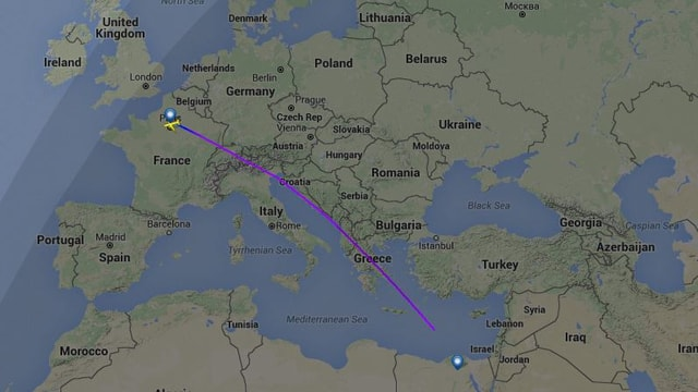 Aufzeichnung der Flugroute mit dem abrupten Abbruch über dem Mittelmeer