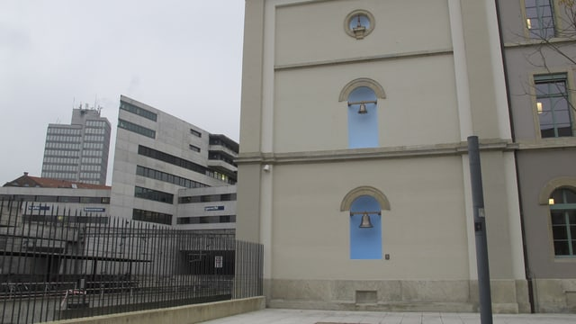 Die neuen Pausenglocken am KV-Schulhaus in Aarau kombinieren Glockenklang und Umgebungsgeräusche.