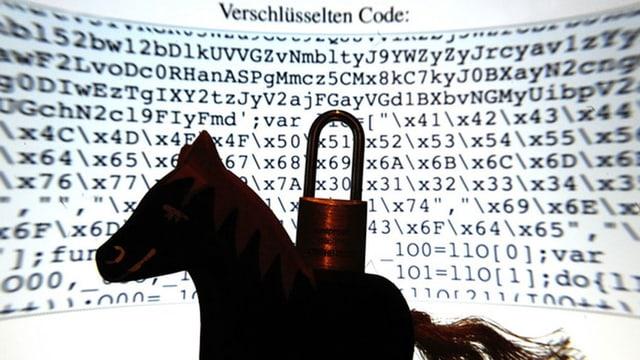 Ein Pferd vor verschlüsselten Computerdaten.