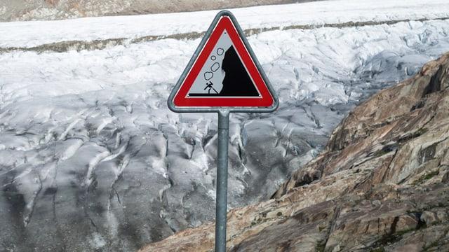 Felssturz-Warntafel vor Gletscher