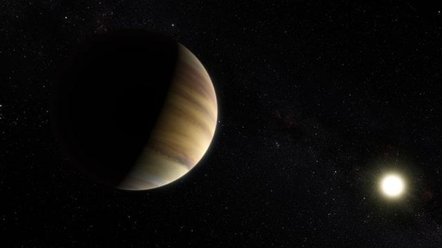Ein Jupiter-ähnlicher Planet im Vordergrund. Hinten ein heller Stern.