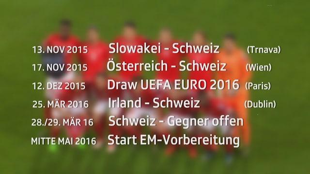 Ein Überblick der nächsten Partien bis Frankreich 2016.