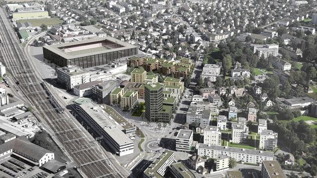 Luftaufnahme-Visualisierung Torfeld Süd-Stadion und Umgebung
