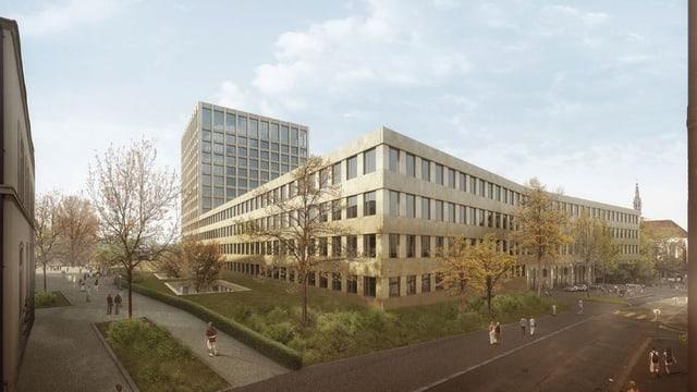 Visualisierung des Neubaus des Klinikums 2, Spitalturm im Hintergrund.