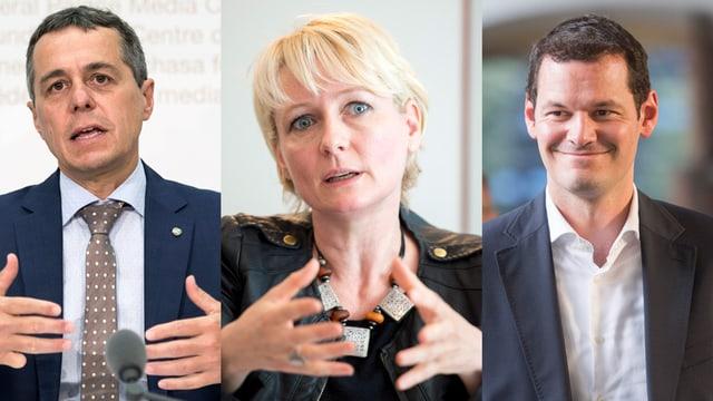 Ils trais candidats da la PLD per la successiun da Didier Burkhalter en il Cussegl federal.