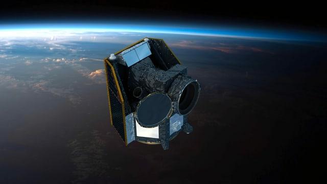 Computergrafik eines Satelliten im Weltraum, im Hintergrund die Erde