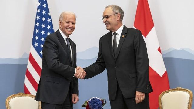 Il president american Joe Biden ed il president da la Confederaziun Guy Parmelin.