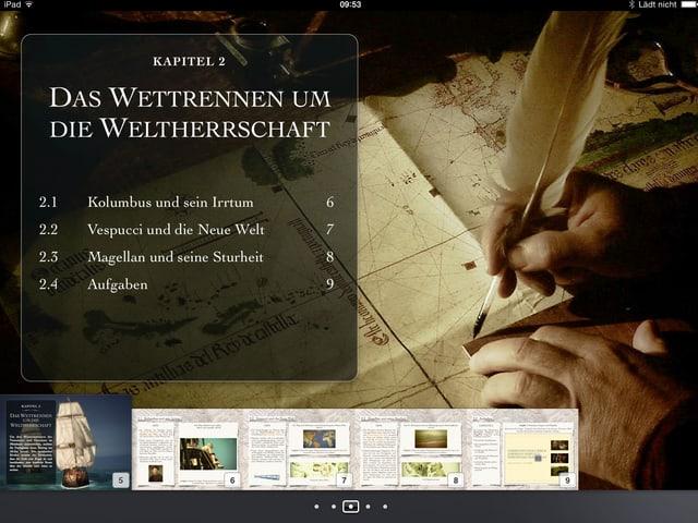 Eine Kapitelübersicht zum ersten Kapitel des iBooks mit Inhaltsverzeichnis.
