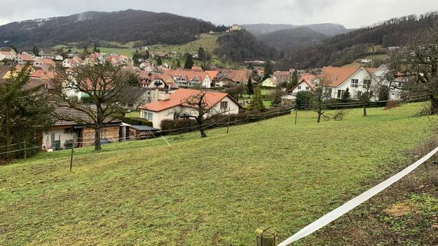 Landstück am Abhang, dahinter Dorfkern von Lostorf