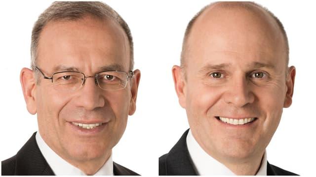 Portrait von zwei Männern, einer mit Brille.
