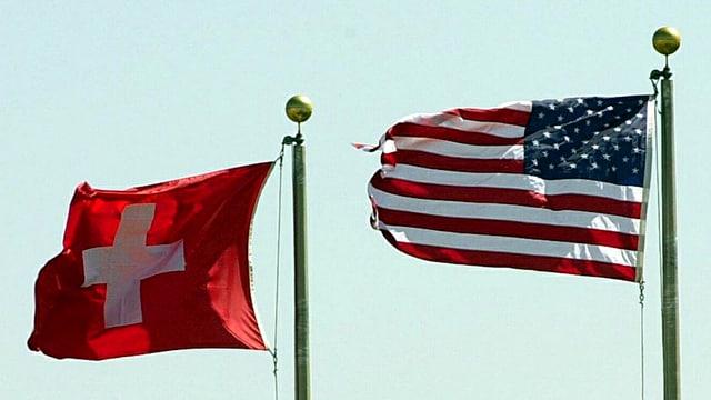 US- und Schweizer Fahne