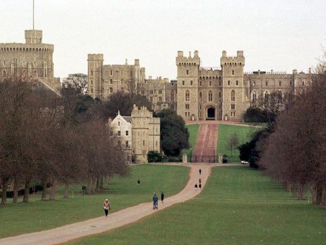 Schloss vor grüner Wiese
