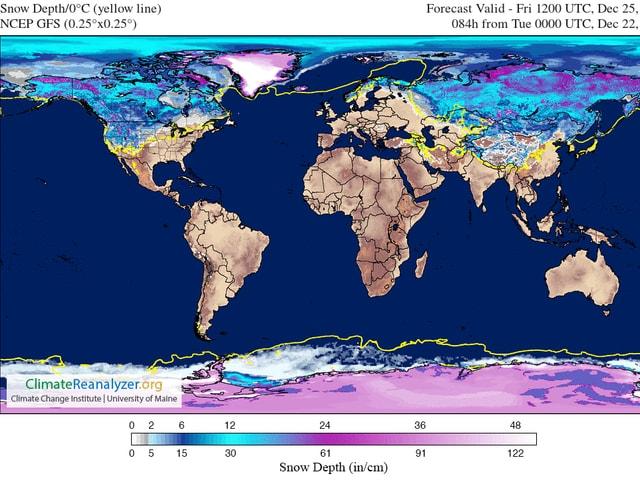 Auf einer Weltkarte sind die Nullgradgrenze und die Verteilung von Schnee dargestellt. Mit Ausnahme der Antarktis liegt auf der Südhalbkugel wegen dem Südsommer praktisch kein Schnee. Auf der Nordhalbkugel ist Europa und der Osten der USA erstaunlich braun eingefärbt. Während in den Rocky Mountains etwas südlicher Schnee liegt.