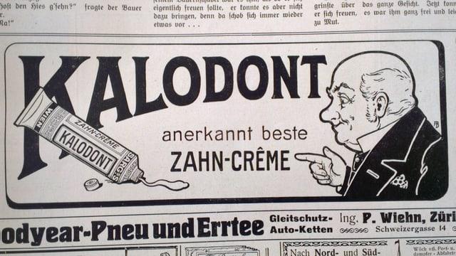 Inserat aus Schweizer Illustrierten: Kalodont als anerkannt beste Zahn-Crème