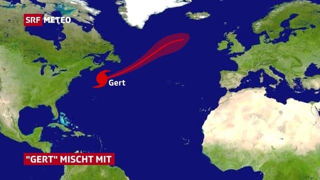 Karte vom Nordatlantik mit eingezeichneter Zugbahn von Hurrikan Gert
