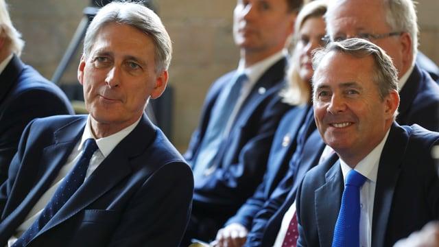Philip Hammond (links) und Liam Fox (rechts) sitzen nebeneinander.