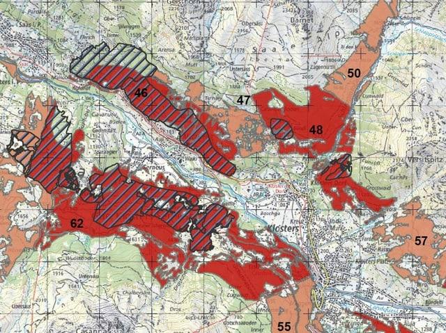 Kartenausschnitt mit rot eingefärbten und schraffierten Flächen.