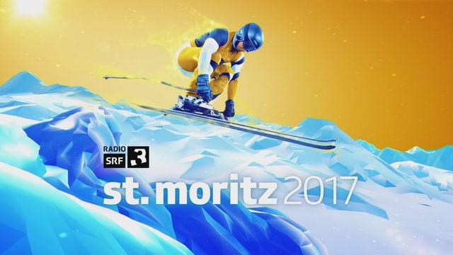 SRF 3 Logo vor animiertem Skifahrer