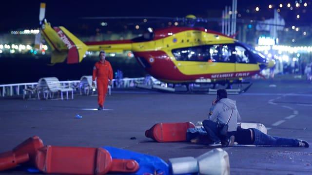 Helikoptereinsatz auf der Promenade des Anglais.