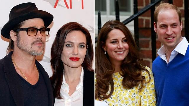 Brad Pitt, Angelina Jolie, Herzogin Catherine und Prinz William posieren für die Fotografen.