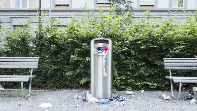 Überfüllter Abfallkübel