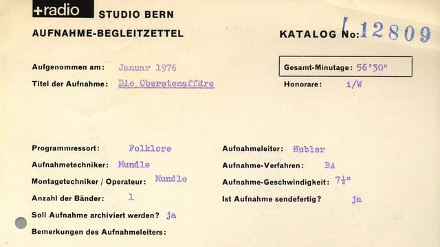 Aufnahme-Begleitzettel des Hörspiels von 1976