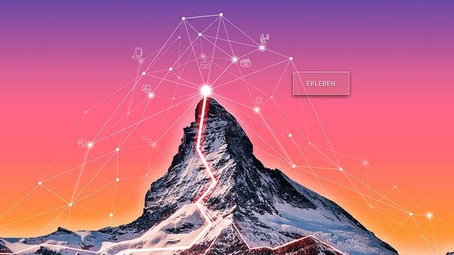 Matterhorn von digitalen Platzhaltern umgeben