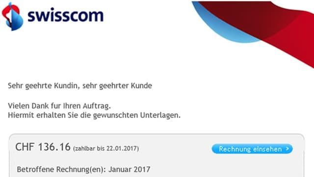 Mail mit Absender Swisscom und Link.