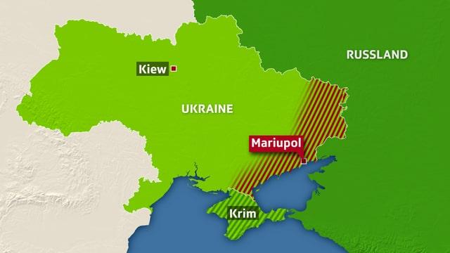 Karte des zwischen pro-russischen Separatisten und ukrainischen Regierungstruppen umkämpften Gebiets der Ostukraine.
