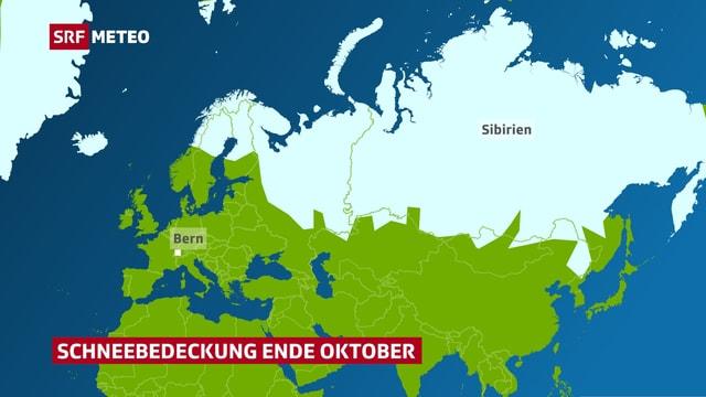 Grüne Karte mit Europa und Asien. Sibirien und Nordeuropa sind weiss eingefärbt.