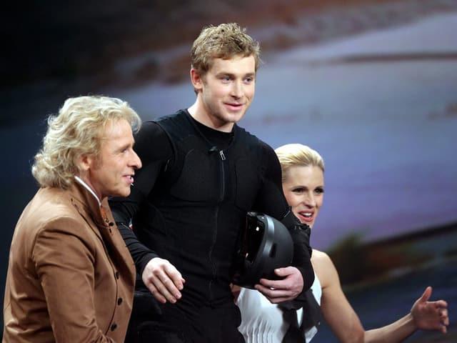 Samuel Koch, Thomas Gottschalk und Michelle Hunziker